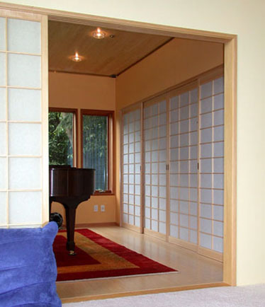 The Music Room Is Enclosed In Shoji Screens, As Room Dividers And As The  Audio