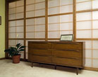 A wall of fixed shoji panels with one sliding door